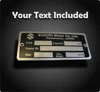 Replacement Vin Plate Identification Tag Data Plate for Suzuki + YOUR OWN TEXT