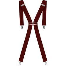 Burgundy Paisley Trouser Braces Mens 44 Inch Gold Clips NEW Non Pristine