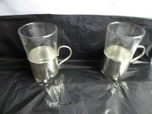Vintage Arcoroc France Glasses x 2 in White Metal Holders Height 11 cm x 6.5 cm