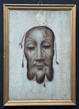 old painted on canvans HOLY FACE SINDONE SUDARIUM CHRISTI 19Th.