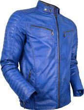 Herren Bikerjacke aus echtem Leder gesteppte Schultern Vintage style Lammleder