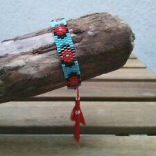 Anthropologie Beaded Tasseled Bracelet In Blue, Red & Black - Clearance Price