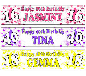 PERSONALISED BANNERS NAME AGE PHOTO BIRTHDAY PARTY PINK PURPLE YELLOW STAR A2