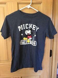 Disney Store Mickey Mouse Athletics Tee T-Shirt Boys Blue 10/12 NEW