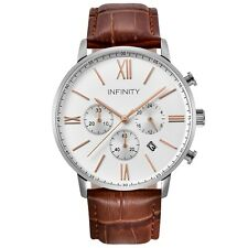 Infinity SP 03 Rosegold & Brown Men's Classic Chronograph Watch Brown Leather