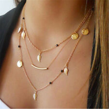 Fashion Charm Multi Layer Chain Necklace 3 Charms Open Leaf For Women Girls