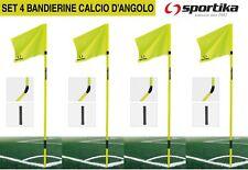 SET 4 Bandierine Calcio D'angolo SPORTIKA Snodabili Completi di Drappi Bussole