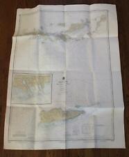 Virgin Islands Nautical Chart Map Vintage LARGE NOAA Soundings Fathoms W Indies