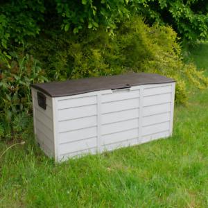 BROWN OUTDOOR GARDEN PLASTIC STORAGE BOX WATERPROOF PORTABLE TRUNK TOOLS CUSHION