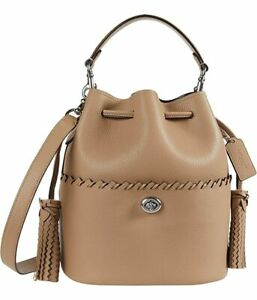 COACH Lora Whipstitch Leather Bucket Bag Tassel Crossbody ~NWT~ Taupe 651