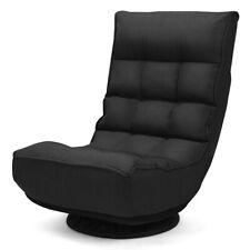 Folding Game Chair Floor Lazy Sofa 4-Position Adjustable 360 Degree Swivel Black