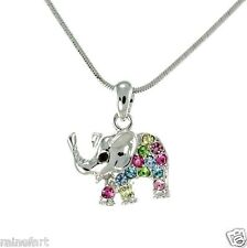 "Elephant W Swarovski Crystal Luck Animal 18"" Chain Necklace Multi Color Gift"
