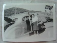 Vintage Car Photo Woman w/ 1938 Chevrolet in Battered Skirts 828