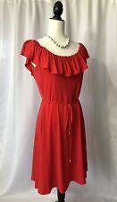 Ivanka Trump Red Ruffle Off The Shoulder Dress Tie Waist Women's Size M