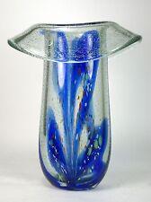 Art Glass Vase Blue  Hand Blown Lithuania Vilniaus Stiklo Studija Studio