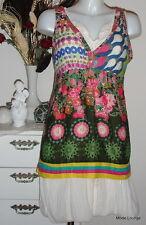 DESIGUAL Blusa camisa- yerry - L 40 , Flower multicolor NUEVO CON ETIQUETA