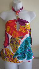 Jantzen Womens Swimsuit Tankini Top Multi Color Palm Leaves Halter Size 6 NWT$78
