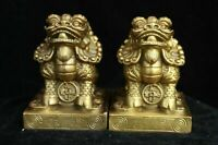 Chinese Fengshui Brass Lucky Pixiu Auspicious Beast Pair Brave troops Statue