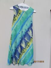Women size S vtg Tessuto DRESS Green Blue Yellow Sheer Lined Made USA Summer KM