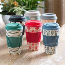 Floral Bamboo Travel Mug Beaker 400ml Reusable Hot Drink Cup Tea Coffee Gift