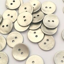 20 x 14mm metallic silver painted mother of pearl shell buttons with two holes
