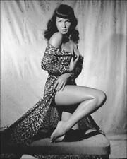 "Bettie Page Vintage Pinup A4 CANVAS PRINT 8""X 12"" Black & White photo E"