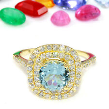 2.10 Carat Natural Aquamarine 14K Solid Yellow Gold Diamond Ring