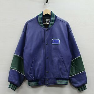 Vintage Vancouver Canucks Leather Bomber Jacket Size Small Blue NHL Made Canada