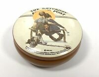 """Norman Rockwell Saturday Evening Post Metal Tin Container """"Little Spooners"""" 5"""""""
