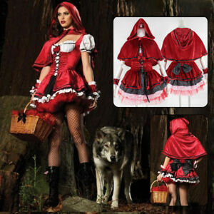 Womens Sexy Fairytale Red Riding Hood Costume Cosplay Fancy Dress Dancing