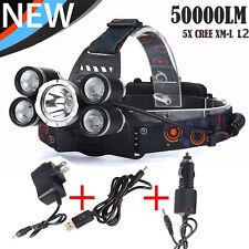 50000LM 5Head CREE XML L2 18650 Headlamp Headlight Flashlight+3pcs Chargers