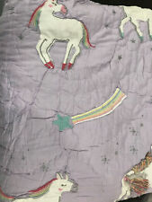 Pottery Barn Kids Rainbow Unicorn Quilt Twin Lavender New