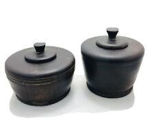 More details for bowls decorative hand turned wood lidded bowls. antique treenware home  kitchen