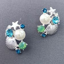 Silver Shell Starfish Mint Turquoise Rhinestone Pearl Design Stud Earrings