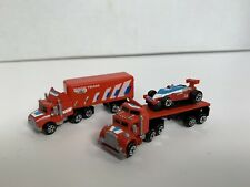 Micro Machines Semi Trucks + Trailers + Race Car Race Team Complete! Red Galoob