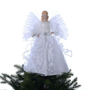 Holiday Time 12 inch White Fiber Optic Angel Tree Topper