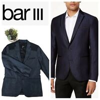 Bar III Mens 2 Button Dress Blazer Size Medium Navy Blue Metallic Sheen NWT