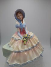 """Large Royal Doulton 1936 """"Daydreams"""" Seated Figurine Cream and Pink Gown Flowers"""