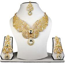 Modern Jewelry Gold Plated Indian Fashion Lovely White Kundan Necklace Tikka Set
