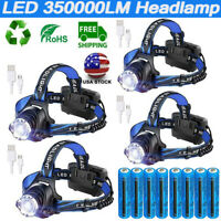 350000LM Rechargeable Zoomable Headlight LED Tactical Headlamp Light ME