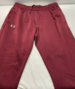 Under Armour Men's Woven Warm Up Track Training Gym Loose Maroon Pants XXL 2XL
