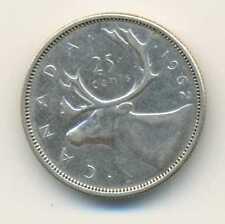 Canada Silver 25 Cents 1962 VF+