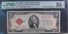 1928F $2 United States Note Red Gutter Fold PMG 35CVF EPQ **Free U.S. Shipping**