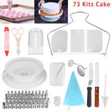 73pcs Cake Decorating Tool Kit Baking Fondant Supplies Turntable Bag Tip Sets US