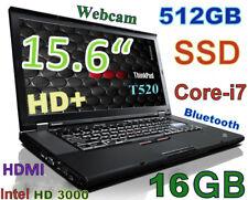 """Thinkpad T520 15.6"""" HD+ i7-2.70GHz 512GB SSD 16GB  Webcam Bluetooth HDMI"""