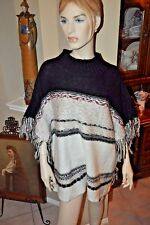 A.N.A patterned knit sweater Gorgouse pattern Poncho w/Fringe Generous Sz L NWT