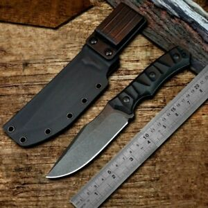 Premium Drop Point Knife Fixed Blade Hunting Combat Tactical D2 Steel G10 Handle