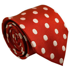 (NT064) 100% Silk Red Polka Dot Men Wedding Business Party Formal Tie Necktie