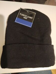 Fleece Lined Hat Black Beanie 100% Polyester Lining