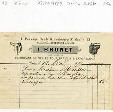 Paris X ème 1 Passage Brady - Petite Entête Secteur de l'Equitation - 12/04/1879